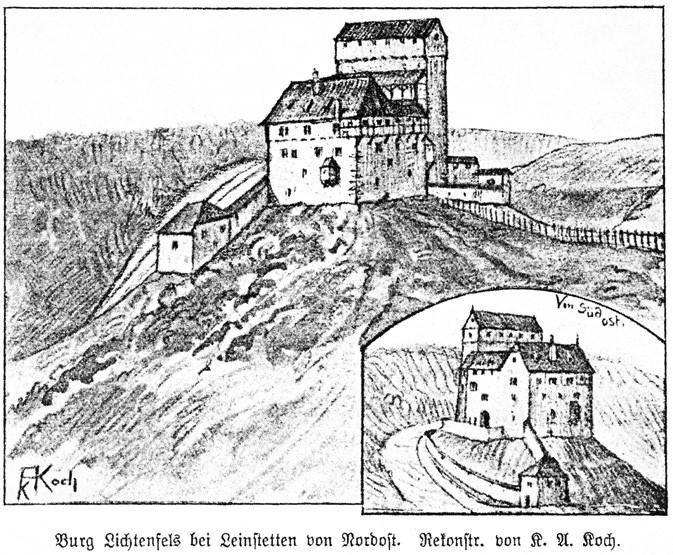 Rekonstruktions-Zeichnung der Burg Lichtenfels aus dem Jahr 1907
