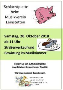 "Schlachtplatte beim Musikverein ""Gut Klang"" Leinstetten e. V."